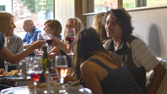 a group of friends having fun in a wine bar cafe. - anorexia nervosa stock videos & royalty-free footage