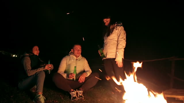 Group of friends having fun near the fire at mountain cabin.