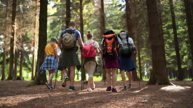 vídeos y material grabado en eventos de stock de grupo de amigos haciendo senderismo y explorando la naturaleza - 20 24 años