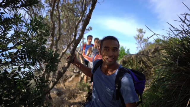 group of friends hiking outdoors walking in a line - eco tourism stock videos & royalty-free footage
