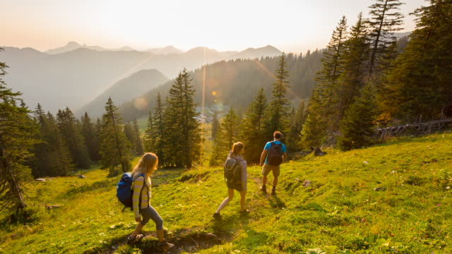 group of friends hiking through green mountain meadow at sunset - baviera video stock e b–roll