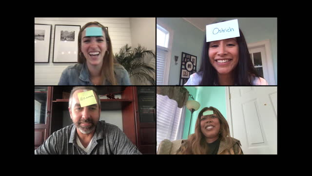 group of friends laugh and smile as they play a guessing game via video call, young woman tries to guess the correct animal name (audio) - leisure games stock videos & royalty-free footage