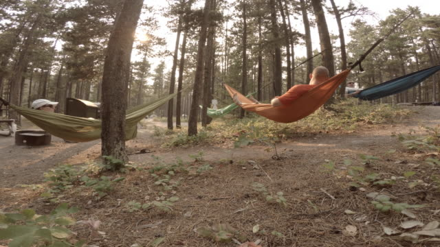 group of friends laying in hammocks under trees - 40 49 years stock videos & royalty-free footage