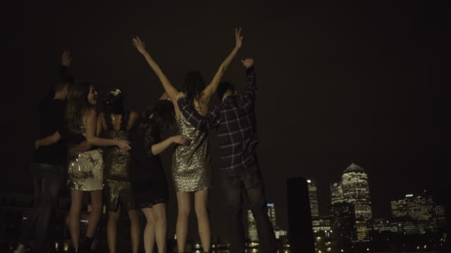 Group of friends looking out over skyline at night
