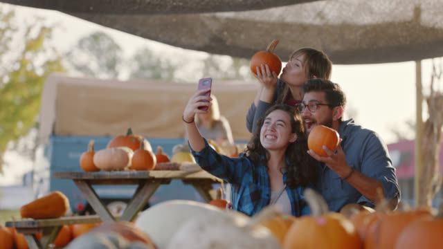 group of friends pick out pumpkins together and take selfies at a farmers market - out take stock videos & royalty-free footage
