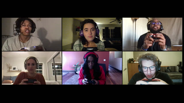 group of friends play multiplayer video game online together on a video call - alpha channel stock videos & royalty-free footage