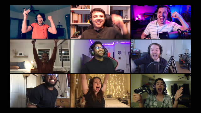 group of friends play multiplayer video games together on a video call - the internet stock videos & royalty-free footage