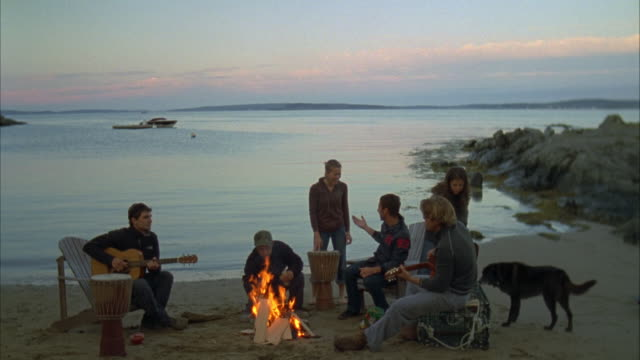 WS, Group of friends  playing guitars around beach campfire, Cow Island, Maine, USA