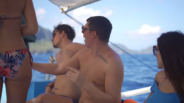 group of friends sailing on a boat - yachting stock videos & royalty-free footage