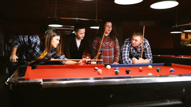 group of friends shooting pool on a night out - pool table stock videos & royalty-free footage