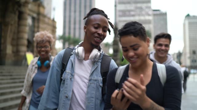 group of friends taking selfies in the city - dreadlocks stock videos & royalty-free footage