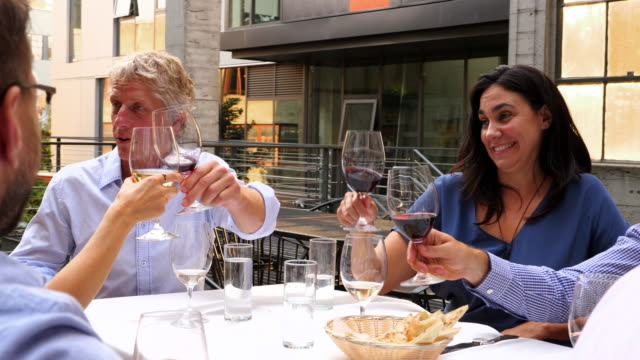 pan group of friends toasting during celebration meal on restaurant patio - gente comune video stock e b–roll
