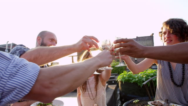 ms group of friends toasting during dinner together in rooftop garden on summer evening - wine stock videos & royalty-free footage