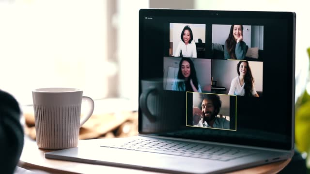 group of friends video chatting during coronavirus quarantine - using laptop stock videos & royalty-free footage