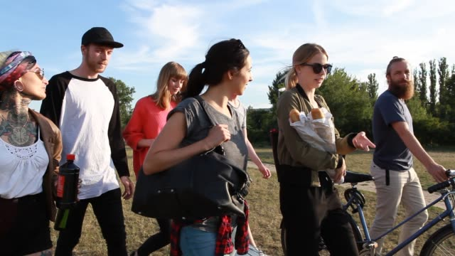 group of friends walking at the park - public park stock-videos und b-roll-filmmaterial