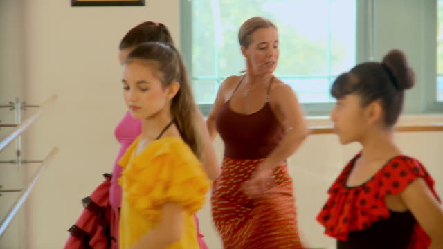 CU, PAN, Group of girls (10-11) in flamenco dancing classes, Richmond, Virginia, USA