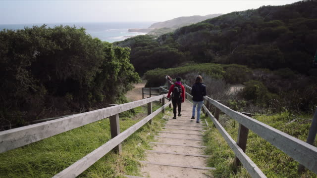 A group of girls walking to the beach, at Mornington Peninsula, Victoria, Australia