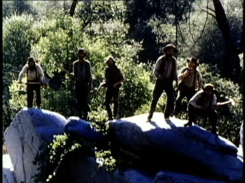 1849 reenactment montage group of gold prospectors recognizing friend and cheering, usa, audio - gold rush stock videos and b-roll footage
