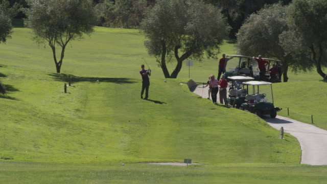ha ls group of golfers waiting at tee, young man teeing off towards camera two women walking to the ladies' tee, red r3d 4k - golf glove stock videos and b-roll footage