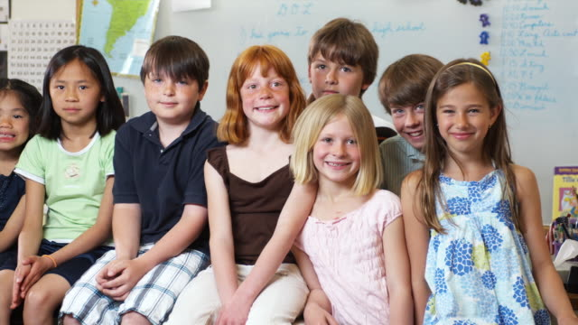ms group of grade school students (6-11) posing, manchester, vermont, usa - manchester vermont stock videos & royalty-free footage