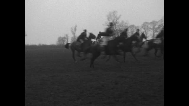 group of grenadier guards canter on horses / guards start racing / riders jump two fences / riders jump two more fences one horse with rider falling... - famiglia reale video stock e b–roll