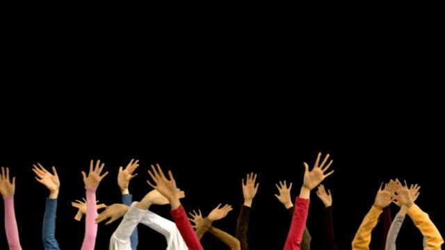 stockvideo's en b-roll-footage met group of hands - zwaaien gebaren