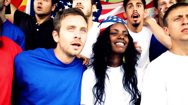 Group of happy USA TEAM supporters