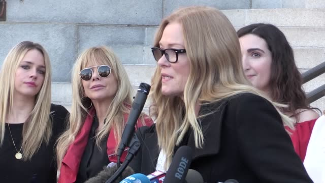 group of harvey weinstein's accusers have warned the fallen film mogul his legal woes are not over and they intend to pursue him to court in los... - rosanna arquette stock videos & royalty-free footage