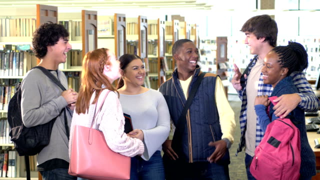 group of high school students conversing in library - 16 17 years stock videos & royalty-free footage