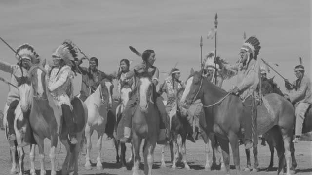 ws group of indians on horses in circle - indigenous north american culture stock videos & royalty-free footage