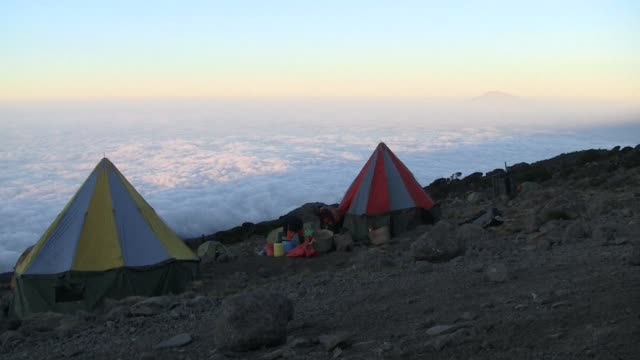 a group of international cricketers set a new record for the highest ever match with a lung busting effort at the top of kilimanjaro - international match stock videos & royalty-free footage