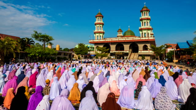 group of islamic women during prayer at mosque - religious celebration stock videos & royalty-free footage