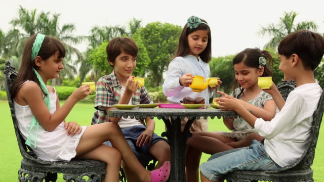 group of kids drinking tea in the lawn  - tea pot stock videos and b-roll footage