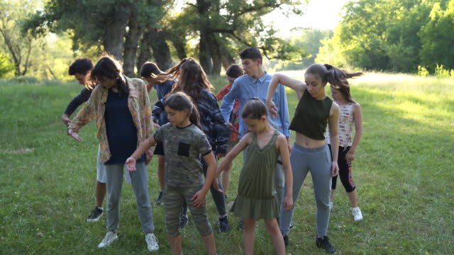 stockvideo's en b-roll-footage met groep kinderen die in de natuur presteren - acteren