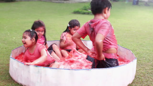vidéos et rushes de group of kids playing holi festival in a lawn  - pataugeoire