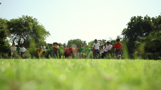 Group of kids racing in the park