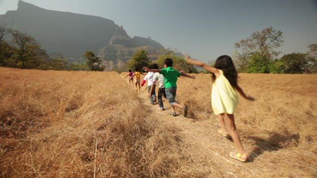 group of kids running with arms outstretched in the forest - braccio umano video stock e b–roll