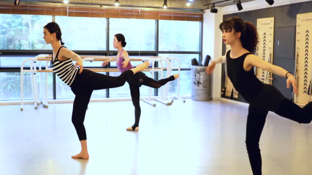 Group of korean women learning how to dance at class in a studio