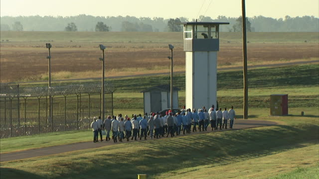group of male criminal prisoners walking on asphalt road outside maximum security prison fencing by guard tower followed by prison bus guard walking... - prison guard stock videos and b-roll footage