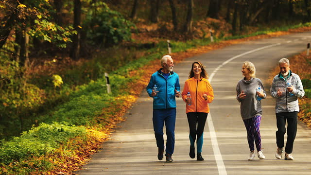 gruppe von reifen leuten joggen in einem wald. - aktiver senior stock-videos und b-roll-filmmaterial