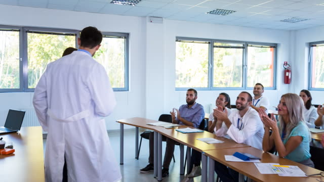 MS group of medical students, doctors and nurses at healthcare lecture