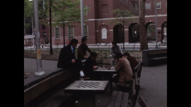 a group of men play chess in washington square park; 1971 - intelligence stock videos & royalty-free footage