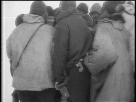 b/w 1929 group of men shake hands with admiral richard e byrd then he climbs into airplane - 1929 stock videos and b-roll footage