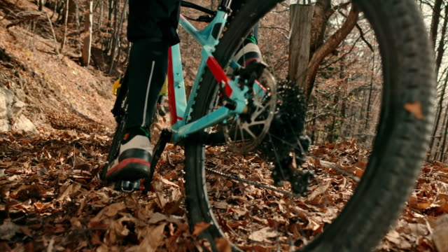 slo mo group of mountain bikers riding in the forest in fall - mountain biking stock videos & royalty-free footage