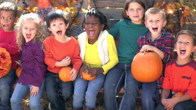 group of multi-ethnic children at fall festival - 4 5 years stock videos & royalty-free footage