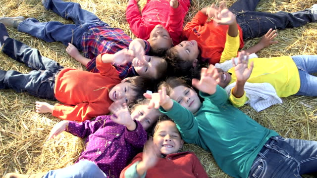 group of multi-ethnic children at - waving stock videos & royalty-free footage