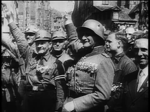 b/w 1929 group of nazi officers giving fascist salute at rally at nuremberg / newsreel - 1929 stock videos & royalty-free footage