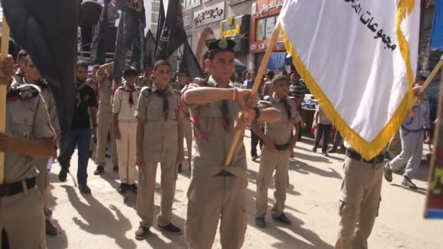 group of palestinian islamic jihad movement supporters stage a protest against israeli aggression on al-aqsa mosque in khan yunis, gaza on november... - jihad stock videos & royalty-free footage