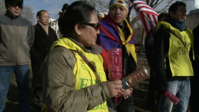 MS TU Group of people at political demonstration and protest outside White House / Washington DC United States AUDIO
