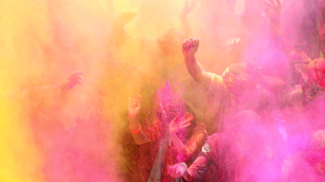 Group of people celebrating holi festival, Delhi, India